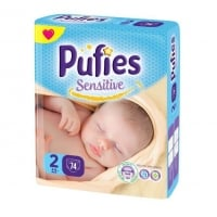 Scutece Pufies Sensitive Mini 2, Maxi Pack, 74 Buc