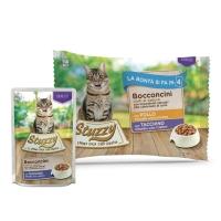 Stuzzy Sterilized Pack, Pui și Curcan, pachet economic plic hrană umedă pisici sterilizate, (bucăți în sos), 85g x 4