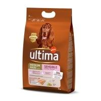 ULTIMA Dog Medium & Maxi Adult Sensitive, Somon, hrană uscată câini, confort digestiv, 3kg