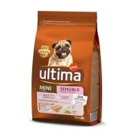 ULTIMA Dog Mini Sensitive, Somon, hrană uscată câini, confort digestiv, 1.5kg