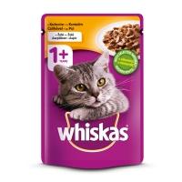 WHISKAS Adult, Pui, bax hrană umedă pisici, (în aspic), 100g x 30
