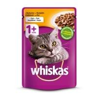 WHISKAS Adult, Pui, plic hrană umedă pisici, (în aspic), 100g