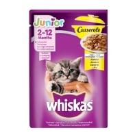 WHISKAS Casserole Junior, Pui, plic hrană umedă pisici junior, (în aspic), 85g