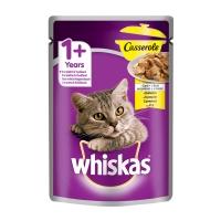 WHISKAS Casserole, Pui, plic hrană umedă pisici, (în aspic), 85g