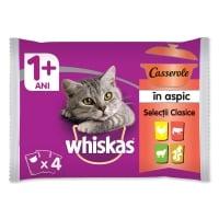 WHISKAS Casserole Selecții Clasice, 4 arome, pachet mixt, plic hrană umedă pisici, (în aspic), 85g x 4
