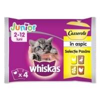 WHISKAS Casserole Selecții Pasăre Junior, 4 arome, pachet mixt, plic hrană umedă pisici junior, (în aspic), 85g x 4
