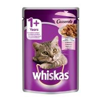 WHISKAS Casserole, Somon, bax hrană umedă pisici, (în aspic), 85g x 30