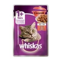 WHISKAS Casserole, Vită, plic hrană umedă pisici, (în aspic), 85g