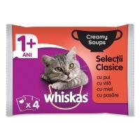 WHISKAS Creamy Soup Selecții Clasice, 4 arome, pachet mixt, plic hrană umedă pisici, (în supă), 85g x 4