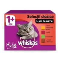 WHISKAS Selecții Clasice, 4 arome, pachet mixt, plic hrană umedă pisici, (în sos), 100g x 12