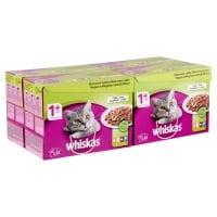 WHISKAS Selecții Mixte, 4 arome, pachet mixt, plic hrană umedă pisici, (în aspic), 100g x 12