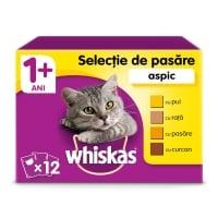 WHISKAS Selecții Pasăre, 4 arome, pachet mixt, plic hrană umedă pisici, (în aspic), 100g x 12