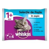WHISKAS Selecții Pește, 4 arome, pachet mixt, plic hrană umedă pisici, (în aspic), 100g x 4