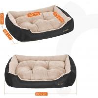 FEANDREA, pat câini și pisici, L, pernă detașabilă cu 2 fețe, negru, 80 x 65 x 20 cm