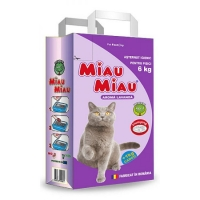 Pachet 4 Buc x Asternut Igienic Bentonita Miau Miau Lavanda, 6 Kg + 1 Kg Cadou