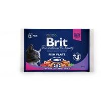 BRIT Premium Multipack Fish Plate, 2 arome, pachet mixt, plic hrană umedă pisici, (în sos), 100g x 4