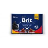 BRIT Premium Multipack Meat Plate, 2 arome, pachet mixt, plic hrană umedă pisici, (în sos), 100g x 4