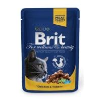 BRIT Premium, Pui și Curcan, plic hrană umedă pisici, (în sos), 100g