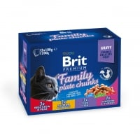 BRIT Premium Multipack Family Plate, 4 arome, pachet mixt, plic hrana umedă pisici, (în sos), 100g x 12