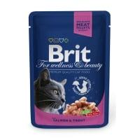 BRIT Premium, Somon și Păstrăv, plic hrană umedă pisici, (în sos), 100g
