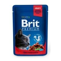 BRIT Premium, Vită și Mazăre, plic hrană umedă pisici, (în sos), 100g