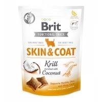 BRIT Care Functional Snack Skin & Coat, Krill cu Nucă de cocos, recompense funționale fără cereale câini, piele și blană, 150g