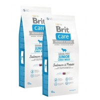 Pachet 2 x Brit Care Grain-Free Junior Large Breed Somon si Cartofi, 12 kg