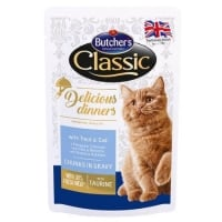 Pachet Butcher's Cat Delicious Dinner Pouch, Pastrav si Cod, 6x100 g