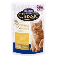 Pachet Butcher's Cat Delicious Dinner Pouch, Pui si Ficat, 6x100 g