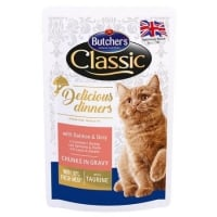 Pachet Butcher's Cat Delicious Dinner Pouch, Somon si Dorada, 6x100 g