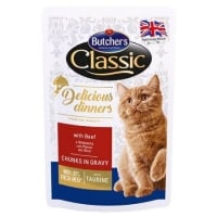 Pachet Butcher's Cat Delicious Dinner Pouch, Vita, 6x100 g