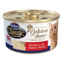 Pachet Butcher's Cat Delicious Dinner Mousse, Vita si Ficat, 6x85 g