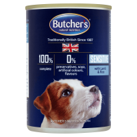 Butchers's Dog Blue Sensitive Pate, Miel si Orez, 390 g