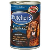 Pachet Butcher's Dog Superior Pate, Pui, Cerb si Morcovi, 6x400 g