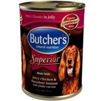Pachet Butcher's Dog Superior Aspic, Pui, Cerb si Morcovi, 6x400 g
