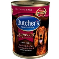 Pachet Butcher's Dog Superior Aspic, Vita, Rata si Mazare, 6x400 g