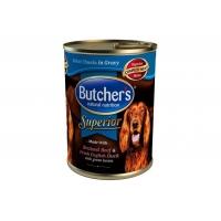 Pachet Butcher's Dog Superior Pate, Vita, Rata si Mazare, 6x400 g