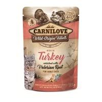 CARNILOVE, File Curcan cu Valeriană, plic hrană umedă fără cereale pisici, (în sos), 85g