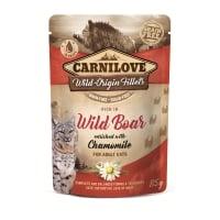 CARNILOVE, File Mistreț cu Mușețel, plic hrană umedă fără cereale pisici, (în sos), 85g