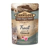CARNILOVE, File Păstrăv cu Echinacea, plic hrană umedă fără cereale pisici, (în sos), 85g