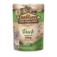 CARNILOVE, File Rață cu Catnip, plic hrană umedă fără cereale pisici, (în sos), 85g