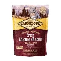 CARNILOVE Fresh Gourmand, Pui și Iepure, hrană uscată fără cereale pisici, apetit capricios, 400g