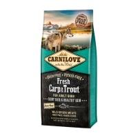 CARNILOVE Fresh Hair & Skin S-XL, Crap și Păstrăv, hrană uscată fără cereale câini, piele si blană, 12kg