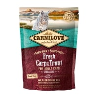 CARNILOVE Fresh Sterilised, Crap și Păstrăv, hrană uscată fără cereale pisici sterilizate, 400g