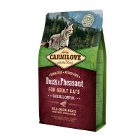 CARNILOVE Hairball Control, Rață și Fazan, pachet economic hrană uscată fără cereale pisici, limitarea ghemurilor de blană, 6kg x 2