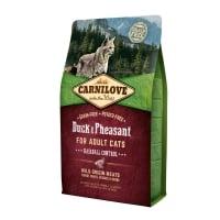 CARNILOVE Hairball Control, Rață și Fazan, hrană uscată fără cereale pisici, limitarea ghemurilor de blană, 2kg