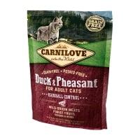 CARNILOVE Hairball Control, Rață și Fazan, hrană uscată fără cereale pisici, limitarea ghemurilor de blană, 400g