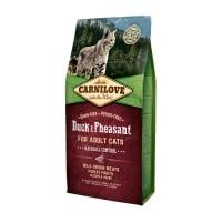CARNILOVE Hairball Control, Rață și Fazan, hrană uscată fără cereale pisici, limitarea ghemurilor de blană, 6kg