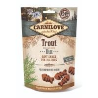CARNILOVE Semi Moist Snack, Păstrăv cu Mărar, recompense funcționale fără cereale câini, antistres, 200g