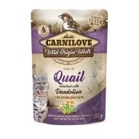 CARNILOVE Sterilised, File Prepeliță cu Păpădie, plic hrană umedă fără cereale pisici sterilizate, (în sos), 85g
